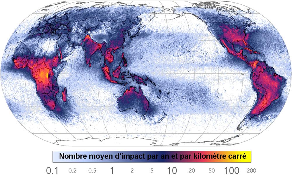 Planisphère des impacts de foudre